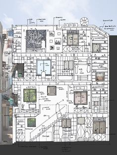 Image 30 of 31 from gallery of HEM House / Sanuki Daisuke architects. Architecture Drawings, Concept Architecture, Interior Architecture, Architectes Zaha Hadid, Building Drawing, Le Corbusier, Townhouse, Lunges, Floor Plans