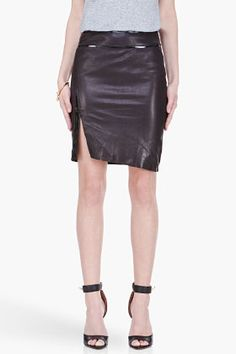 Helmut Lang Black Thin Leather Pencil Skirt for women | SSENSE