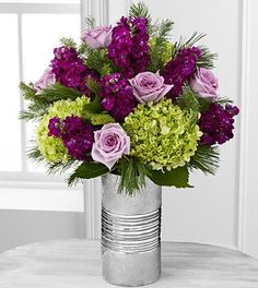 Holiday Inspirations Rose & Hydrangea Bouquet - 14 Stems - VASE INCLUDED (colors for Mo's room)