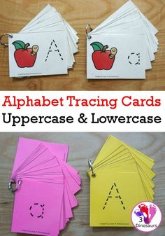 Free Handwriting: ABC Tracing Cards - uppercase and lowercase options with and without pictures for working on tracing letters- 3Dinosaurs.com #handwriting #finemotor #abcs #alphabet #freeprintable #tracingcards #3dinosaurs