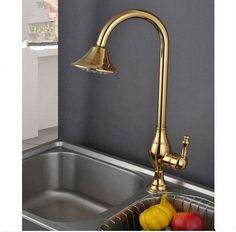 Antique Brass Golden Printed Rotatable Mixer kItchen Sink Faucet TA077C