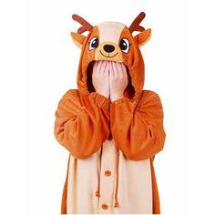 Orange Cute Deer Cosplay Costume Long Sleeves Winter Kigurumi Pajama Fancy Dress