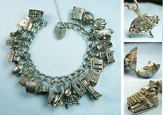 Luxuriously Loaded All Mechanicals/Vintage Silver Charm Bracelet/Heart Padlock