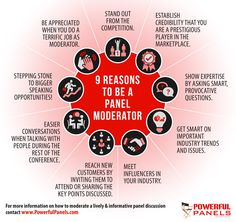 9 Reasons You May Actually Want to Be a Panel Moderator Infographics, Conference, Competition, Appreciation, Finance, Career, Training, Business, Tips