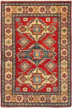 Finest Gazni Hand-Knotted Red/Biege Area Rug