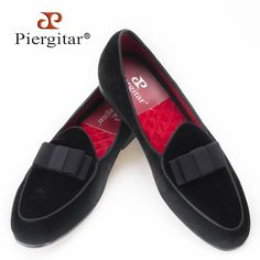 99.00$ Watch now - http://alie1d.worldwells.pw/go.php?t=32691562196 - Piergitar new arrival Handmade Men velvet shoes with short Tongue and Bowtie Men party and wedding dress shoes Banquet loafers