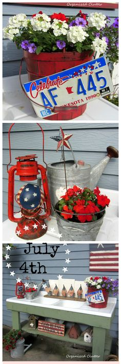 Rustic Patriotic Potting Bench and Patriotic Planters Patriotic Crafts, July Crafts, Summer Crafts, Holiday Crafts, 4th Of July Party, Fourth Of July, 4th Of July Decorations, Happy 4 Of July, Porch Decorating