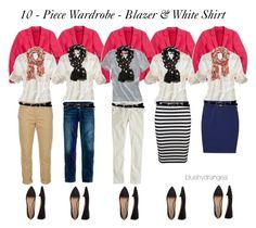 """10 - Piece Wardrobe - Blazer & White Shirt"" by bluehydrangea ❤ liked on Polyvore featuring Madewell, J.Crew, Polo Ralph Lauren, Skaist Taylor, Uniqlo, Lauren Ralph Lauren, A Wear and MANGO"