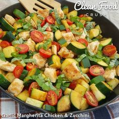 "Another QUICK Dinner Idea...FULL of flavors the entire FAMILY will LOVE! Serves: 4-6 Ingredients: 1 lb chicken breast, or tenders cut into 1"" pieces 1 tsp olive, coconut or avocado oil 1 large garlic clove, crushed 1/4 tsp sea salt... #bestcleanzucchinirecipes #chickenandzucchini #chickenskillet"