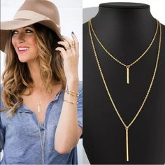 Stunning gold two-tiered necklace Stunning gold two-tiered necklace w clasp. As is final sale. New! Never worn. Great accessory for any attire. So fashionable, sexy and chic! ✨ Jewelry Necklaces