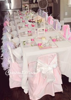 What a gorgeous table at a Tea Party birthday! See more party ideas at… Girls Tea Party, Princess Tea Party, Tea Party Birthday, Girl Birthday, Tea Parties, Birthday Ideas, Tea Party Table, Festa Party, Lalaloopsy