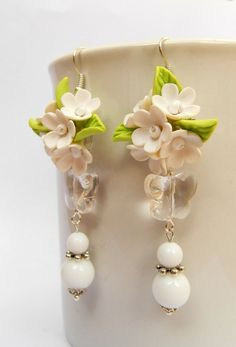 #Flower #earrings  Dangle earrings  Lilacs  White by #insoujewelry