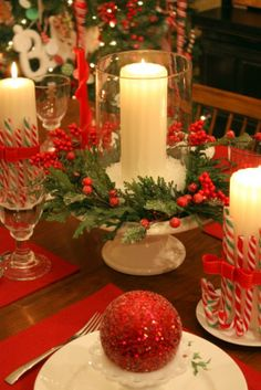 Pretty table-scape with candy canes around the candles.  by Sweet Something Designs Christmas Table Settings, Christmas Tablescapes, Christmas Candles, Great Christmas Gifts, Christmas Makes, Very Merry Christmas, Christmas Centerpieces, A Christmas Story, Red Christmas