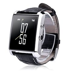 MEAFO Smart Watches DM08 Android Wear Camera Bluetooth Wristwatch Phone PU Leather Strap Waterproof for IOS Apple IOS iPhone 6s Android Note 7 Smartphone Silver -- Check out this great product.