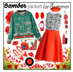 """""""Summer Bomber Jacket - Red Poppies"""" by giovanina-001 ❤ liked on Polyvore featuring Chicwish, WithChic, Aspinal of London, Gianvito Rossi, Kendra Scott, DKNY and MAC Cosmetics"""