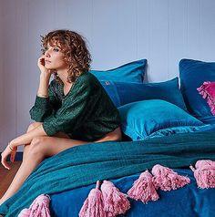 Kip and Co Deep Lake Velvet Quilt Cover and Tassel Throw Winter Bedding Brands