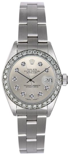 - Brand: Rolex - Style Number: 6917 - Series: Datejust - Gender: Ladies - Case Material: Stainless Steel - Case Diameter: 26mm - Dial Color/Diamond Quality: Silver color diamond face - Bezel/Diamond Q                                                                                                                                                                                 More