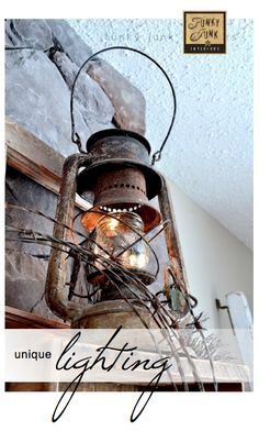 Love this lighting idea. via Funky Junk Interiors Western Decor, Country Decor, Rustic Decor, Rustic Charm, Old Lanterns, Antique Lanterns, Rustic Lanterns, Rustic Lighting, Unique Lighting