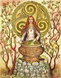 Cerridwen : Welsh Celtic goddess of the moon, magic, poetry, music, luck, earth, agriculture, art, science, astrology, death, and fertility; keeper of the cauldron