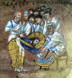 The washing of the feet -   Detail - Codex purpureus rossanensis