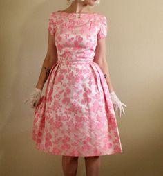 Vintage Pink Dress 1950s Floral Brocade