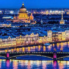 City lights of St. Petersburg