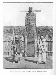 View of entrance to model pa at Rua-tahuna. New Zealand Image, Air New Zealand, Ancient History, Art History, Once Were Warriors, Maori Tribe, Maori Patterns, Maori People, Maori Designs