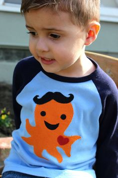 Because...he's my grandson! In fantastically made tee.Ollie the OCTOPUS MUSTACHE Toupee BOYS Raglan Tee by boboandcoco, $24.00