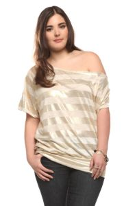 Twist Tees - Gold Foil Striped Callie Tee | Tops