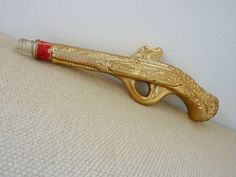Bang Bang  Vintage Gold Glass Gun Perfume Bottle by salvagedspace, $22.00