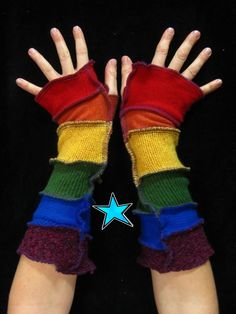 Recycled sweater Arm Warmers  Rainbow RESERVED by katwise on Etsy