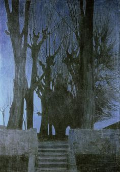 """Oskar Zwintscher """"Weidenbäume bei Nacht"""""""