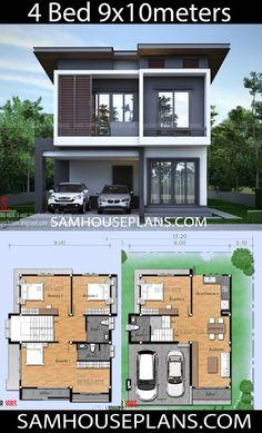 House Plans Idea with 4 Bedrooms – Sam House Plans - house architecture 2 Storey House Design, Duplex House Plans, Bungalow House Design, House Front Design, Small House Design, Modern House Design, 3d House Plans, House Layout Plans, House Layouts