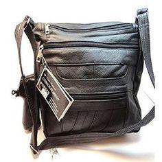 Roma Leathers 7082 Black Genuine Leather Locking Concealed Purse