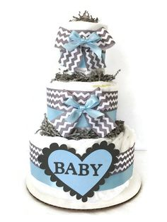 Blue and Grey Chevron Diaper Cake, Boy Baby Shower Centerpiece, Blue and Gray Baby Diaper Cake