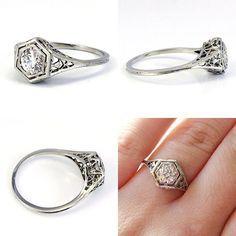 18K Art Deco filigree european cut antique diamond engagement ring. Via Diamonds in the Library.