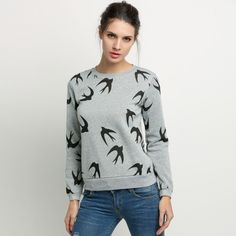 New Fashion Women Flying Swallow Print Long Sleeve Sweater Hoodie Pullover Tops