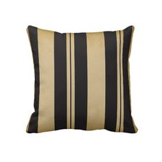 Black and Tan Stripe Pillow. Great look for the home. Look for more items in my store.  Designs by DonnaSiggy.  #pillows,#home,#cushion