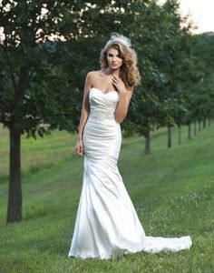 Asymmetrical Sweetheart Shimmer Charmeuse Mermaid Wedding Dress with Pleated Skirt Sincerity Bridal 3666