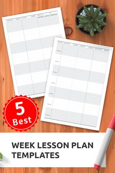 TOP 5 week lesson plan templates to keep track of everything. Download printable PDF in A4, A5, Filofax, Letter and Half Letter. #customteacherplanners #lessonplanpdf #personalizedteacherplanner #plannerlayout #plannernotebook