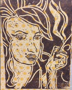 Amy Winehouse A5 Lino Print by Printmiscuous on Etsy