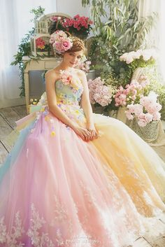 This pastel rainbow gown from Nicole Collection featuring floral appliques is sure to fulfill your princess dreams! Unique Prom Dresses, Sweet 16 Dresses, Pretty Dresses, Girls Dresses, Butterfly Wedding Dress, Rainbow Wedding Dress, Pastel Wedding Dresses, Wedding Gowns, Fairytale Gown