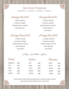 Photography Package Pricing - Photographer Price List - Marketing - Photoshop Template Photography Packages - INSTANT DOWNLOAD [ ADOBE PHOTOSHOP TEMPLATE DETAILS ] 8.5x11 (300dpi) [1] Layered Photoshop PSD file Font files are INCLUDED Designed using Adobe Photoshop CC Compatible with Adobe CS+ and Elements *** Backgrounds and photos are for display purposes and not included with purchase. Please view all photos. [ DISCOUNTS * SALES ] I love to have sales for my customers! Be the first to ...