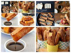 Rabanada de Pão de Forma com Canela   (8 fatias de pão francês deespessura de corte em palitos(dedos da mão)- 4 ovos grandes- 1 xícara de creme de leite- 2 1/2 colheres de chá de canela- 1 colher de sopa de açúcar- 1 colher de sopa de extrato de baunilha  manteiga sem sal, para cozinhar- xarope de bordo, para servir(mel/gélia) em tigelas de mesa pequena