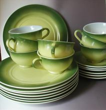 Hazel Atlas Moderntone Green Yellow Glass Plates Cups Saucers