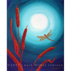 Dragonfly in Teal Moonlight Original Acrylic Painting by Laura Milnor Iverson