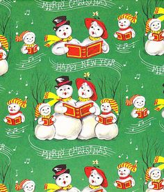 Vintage Christmas Wrapping Paper ~ Caroling Snowman Family, circa 1950s