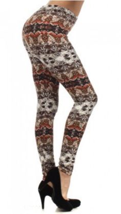 84434be2793 Ladies Native Fall Fleece Lined Leggings - Multi colored print - Body  slimming and warm fleece - Size   S M or L XL - polyester