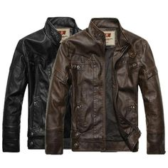 New Hot HOt New Warm Men's Leather Motorcycle Standing Collar Jackets Coat Black/Brown free shipping|f7141835-7809-4ef6-82f3-d557e39d3303|Leather & Suede