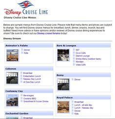 Restaurant menus and food photos from Disney Cruise Line's Dream, Magic, and Wonder ships via Magical Kingdoms, http://www.magicalkingdoms.com/cruise/dining/menus.html